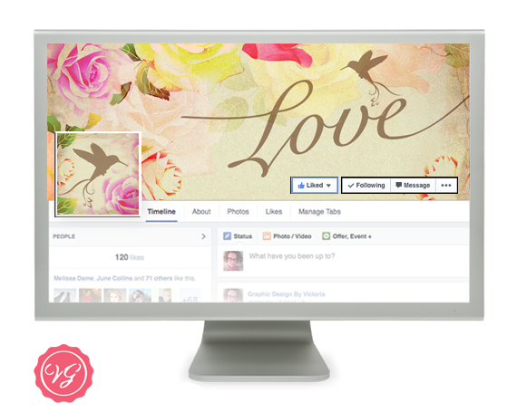 Vintage Rose Facebook Wedding Timeline Banner