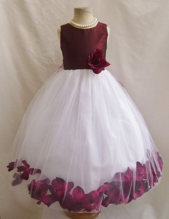 Burgundy Top Rose Petal Flower Girl Dress Found on NollaCollection on Etsy