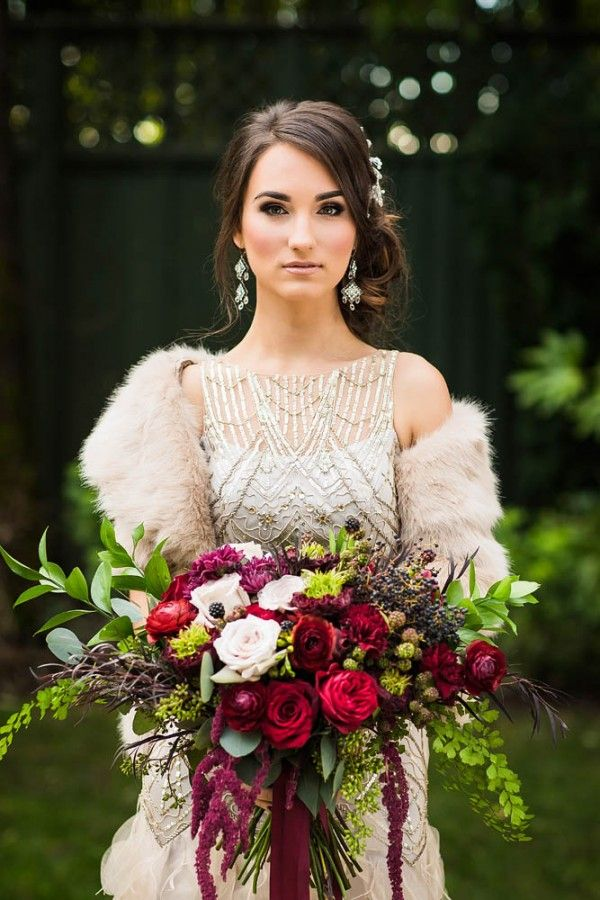 Berry Toned Overgrown Bouquet | Photo by Dina Chmut Found on junebugweddings.com
