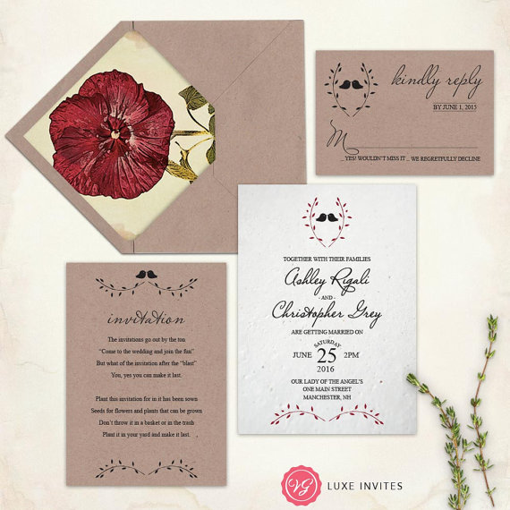 Botanical Wedding Invitations printed on seed infused plantable paper. Found on VGLuxeInvites on Etsy