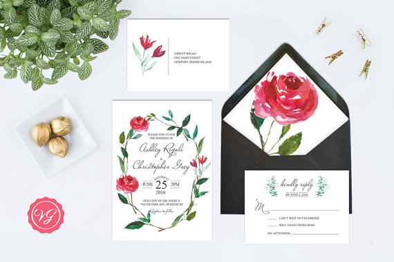 Red Rose Floral Wreath Wedding Invitation Set found on VGLuxeInvites on Etsy