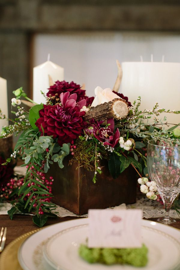 Rustic Wood and Antler Centerpiece with Burgundy Dahlias - Ashley Cook Photography Found on heyweddinglady.com