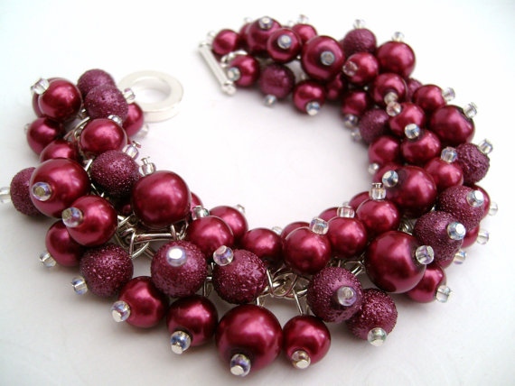 Cranberry Red Bridesmaid Jewelry found on KIMMSMITH on Etsy