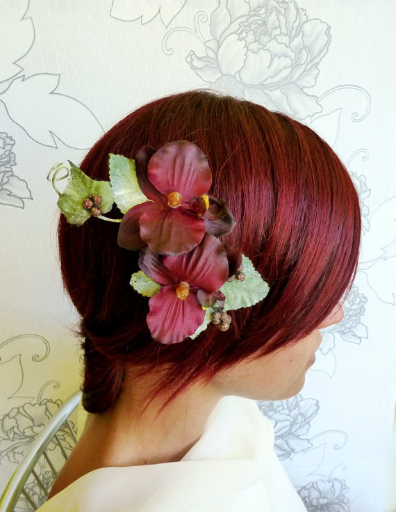 Red Orchid Fall Bridal Hair Clip found on LumilinA on Etsy