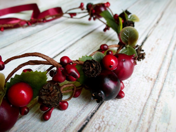 Winter Red Berry Bridal Crown found on LumilinA on Etsy